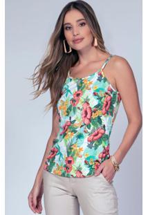 Blusa De Alças Floral Verde Soltinha
