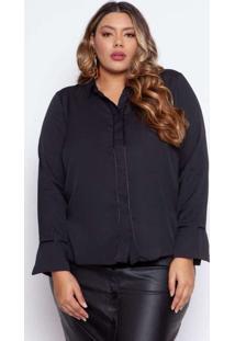 Camisa Almaria Plus Size Pianeta Detalhe De Cetim