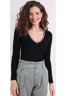 Suéter Feminino Básico Em Tricô Decote V Preto