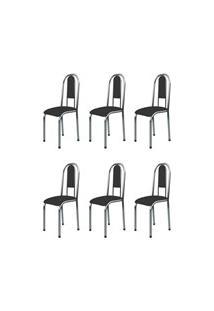 Kit 6 Cadeiras Anatômicas 0.122 Estofada Cromado/Preto - Marcheli