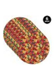 Sousplat Mdecore Floral 35X35Cm Colorido 6Pçs