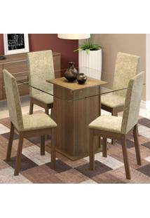 Conjunto Sala De Jantar Madesa Nina Mesa Tampo De Vidro Com 4 Cadeiras