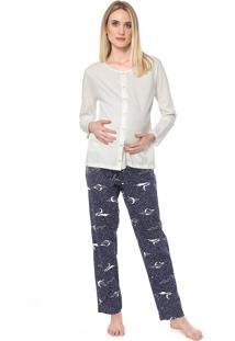 Pijama Pzama Gestante Estampado Branco/Azul-Marinho