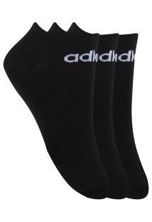Kit De Meias Adidas No Show Com 3 Pares - 35 A 38 - Masculino - Preto