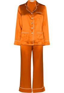 Olivia Von Halle Pijama De Seda Coco - Dourado