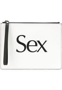 Christopher Kane Clutch 'Sex' De Couro - Branco