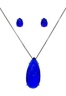 Conjunto Infine Colar E Brincos Gota Azul Safira Fusion - Azul - Feminino - Dafiti