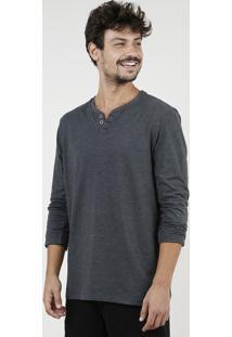 Camiseta Masculina Básica Manga Longa Gola Careca Cinza Mescla Escuro