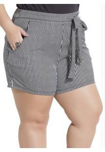89cac6576043 R$ 39,99. Posthaus Short Branco Preto Feminino Embutir Listrado Plus Size  Curto Cintura Alta Listras ...