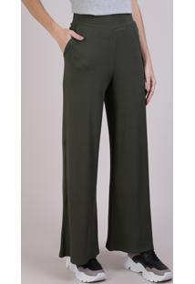 Calça Feminina Pantalona Canelada Com Bolsos Verde Militar