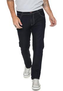Calça Jeans Fiveblu Reta Pespontos Azul-Marinho