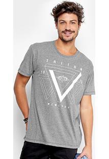 Camiseta Triton Estampada Geométrica Masculina - Masculino-Cinza