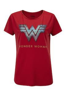 Camiseta Liga Da Justiça Mulher Maravilha Logo - Feminina - Vinho