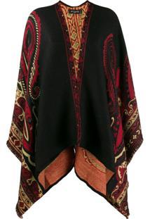 Etro Paisley Draped Cardi-Coat - Preto