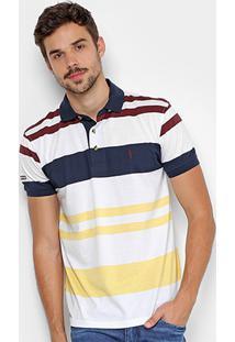 Camisa Polo Aleatory Listrada Bordada Masculina - Masculino-Marinho+Amarelo