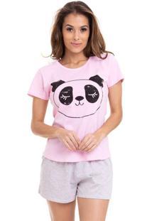 Pijama Short Doll Panda Feminino Adulto Luna Cuore