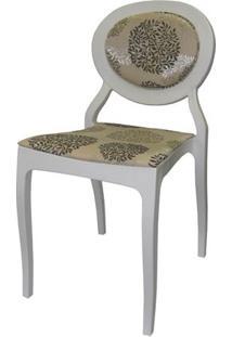 Cadeira Louix Cor Branco Off Com Tec.Marrom E Bege - 23001 - Sun House