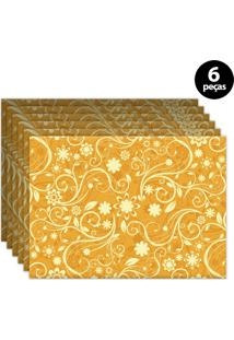 Jogo Americano Mdecore Abstrato 40X28Cm Amarelo 6Pçs