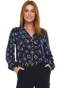 Camisa Lez A Lez Estampada Azul-Marinho