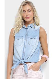 Camisa Jeans Triton Regata Sem Manga Feminina - Feminino-Azul