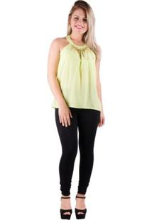 Blusa Chiffon Liso Neon - Banna Hanna - Feminino-Amarelo Fluorescente