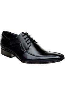 Sapato Social Com Cadarço Couro Bigioni - Masculino-Preto
