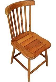 Cadeira De Madeira Maciça Rústica De Demolição Country Grande