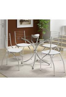 Mesas 375 Com Vidro Incolor Cromada Com 4 Cadeiras 146 Branca Carraro