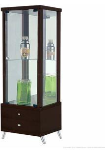 Cristaleira 1 Porta De Vidro Com Espelho E Pés Palito Onix 100% Mdf 2 Gavetas Imbuia - Móveis Forini
