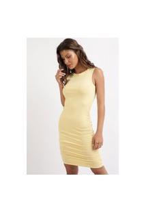 Vestido Feminino Midi Canelado Sem Manga Amarelo