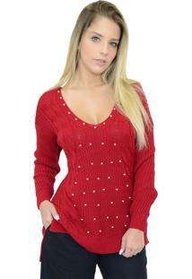 Suéter Mamorena Trança Decote V Pérolas Vermelha