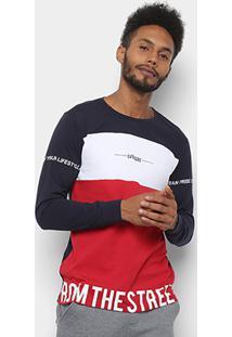 Camiseta Overcore Manga Longa Estampada Bicolor Masculina - Masculino-Preto