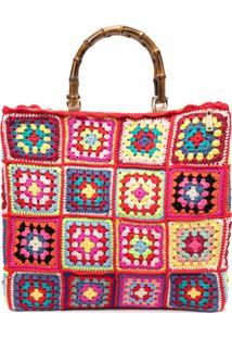 La Milanesa Patchwork Shoulder Bag - Vermelho