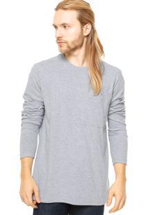 Camiseta Manga Longa West Coast Bolso Frontal Cinza
