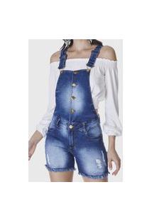 Macacão Jardineira Shorts Hno Jeans Azul