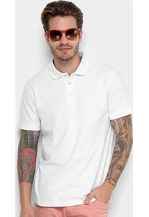 Camisa Polo Básica Cavalera Manga Curta Feminina - Masculino-Branco