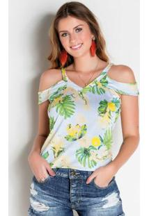 Blusa Floral Com Alças E Babados