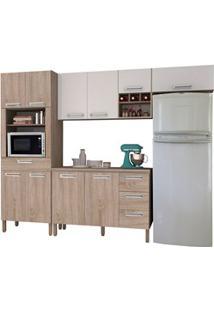 Cozinha Compacta Ametista Com Balcão 10 Portas Composição 5 Nogal/Bran