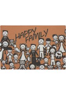 Capacho Em Pvc Vinil Happy Family 60X40Cm Laranja