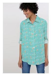 Camisa Alongada Listrada