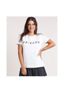 Blusa Feminina Friends Botonê Manga Curta Decote Redondo Off White