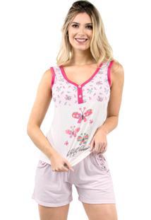 Pijama De Botão Blusinha Short Bravaa Modas 006 Rosa
