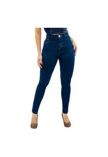 Calça Jeans Feminina Cintura Alta Frozini Skinny Levanta Bumbum Elastano Ultra Power Escura Amaciada