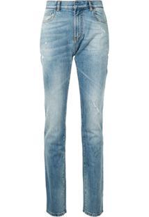 Faith Connexion Calça Jeans Slim Com Efeito Destroyed - Azul