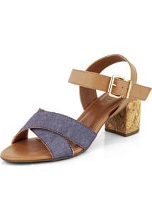 Sandália Salto Bloco Cortiça Tiras Em X Jeans Com Traseiro Ambar Multicolorido