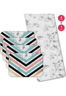 Jogo Americano Love Decor Com Caminho De Mesa Geométric Marble Kit Com 4 Pçs + 1 Trilho Multicolorido - Kanui
