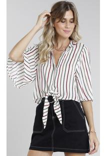 Camisa Feminina Cropped Ampla Listrada Com Nó Manga Curta Off White