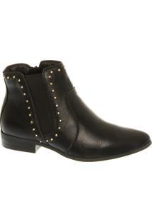 Ankle Boot Flat Em Couro Com Cravinhos