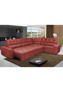 Sofa De Canto Retrátil E Reclinável Com Molas Cama Inbox Austin 3,45X2,44 Ou 2,44X3,45 Suede Velusoft Vermelho