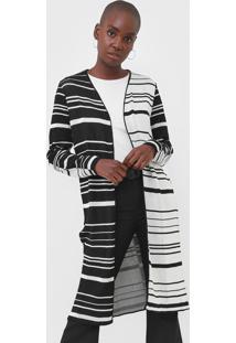 Maxi Cardigan Tricot Calvin Klein Listrado Preto/Off-White